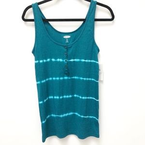 Old Navy tie dyed ribbed henley tank in teal